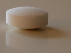 A round white pill.